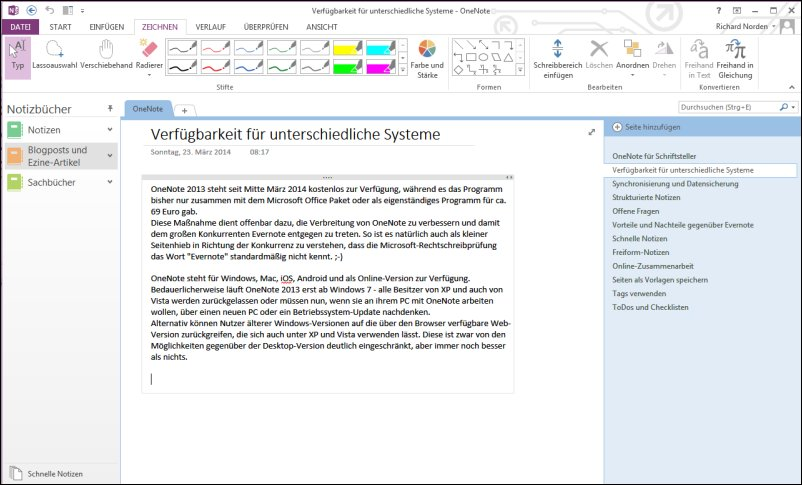 Screenshot OneNote
